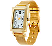Isaac Mizrahi Live! Rectangular Watch with Mesh Strap - J328871