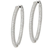 Diamonique 1-1/4 Pave Hoop Earrings, Sterling or 18K Plated - J329871