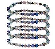 Honora Set of 5 Cultured Pearl Stretch Bracelets - J330371