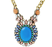 As Is Joan Rivers Jeweled Oval Pendant 18 Necklace w/ 3 Extender - J332871