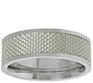 Mens Titanium Band Ring w/Silver Carbon Fiber - J337871