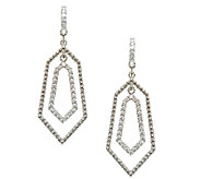 Judith Ripka Sterling & Diamonique Geometric Da ngle Earrings - J337971