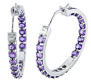 Sterling 2.40cttw Amethyst Inside Outside 1 Hoop Earrings - J338171