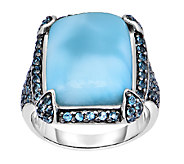 7.00 cttw Larimar & London Blue Topaz Ring, Sterling - J338671