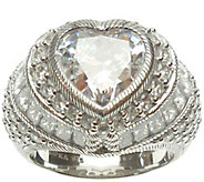 Judith Ripka Sterling 9.50cttw Diamonique HeartRing - J339371