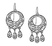Sterling Silver Round Lace Dangle Earrings by Or Paz - J339471