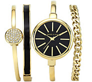 Anne Klein Womens Goldtone Bangle Watch and Bracelet Set - J342971