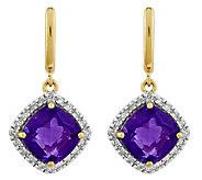 14K Gemstone & 1/5 cttw Diamond Halo Post Dangle Earrings - J343471