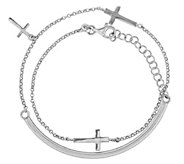 Sterling Bar & Chain Wrap Cross Bracelet - J344371