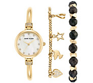 Anne Klein Womens Goldtone Watch and BraceletSet - J344771