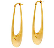 As Is Arte d Oro Polished 2 Elongated Oval Hoop Earrings 18K Gold - J346571