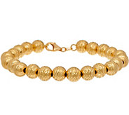 Italian Gold 7-1/4 Diamond Cut Bead Bracelet 14K Gold, 11.5g - J347471