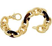 Judith Ripka 6-3/4 Verona Gemstone Link 14K Clad Bracelet 35.5g - J347871