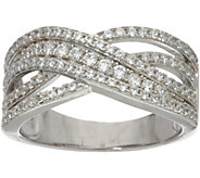 Diamonique Crossover Band Ring, Sterling - J348171