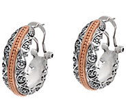 Sterling Silver Lace & Bead Hoop Earrings by Or Paz - J348271