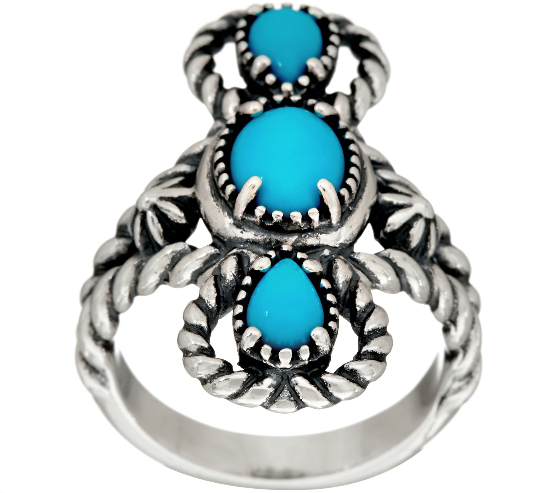 sterling silver sleeping turquoise three ring