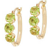 Petite Gemstone Polished Hoop Earrings 14K Gold - J353471