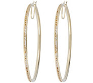Vicenza Gold 1-3/4 Round Crystal Hoop Earrings 14K Gold - J374771