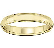 Mens 14K Yellow Gold 4mm Milgrain Wedding Band - J375571