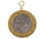 1000-Lire Coin Charm, 14K Gold - J110572