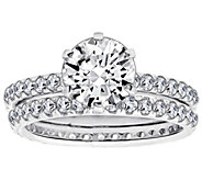Diamonique 2.90 cttw 2 Piece Round Ring Set, Platinum Clad - J111672