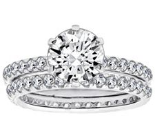 Epiphany Diamonique 2.90 ct tw 2-piece Round Ring Set