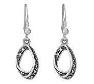 Suspicion Sterling Marcasite Open Teardrop Earrings - J112472