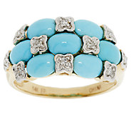 Sleeping Beauty Turquoise & Diamond Band Ring 14K Gold - J155472