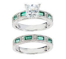 Epiphany Diamonique Engraved Princess Cut 2-pc. Ring Set