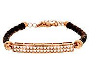 Diamonique Leather Station Bracelet, 14K Clad/Sterling - J278772