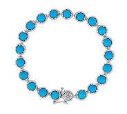 As Is Sleeping Beauty Turquoise 6-3/4 Sterling Tennis Bracelet - J285472