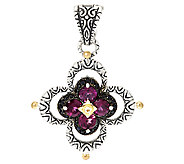 Barbara Bixby Sterling & 18K Garnet & Black Sapphire Flower Enhancer - J285572