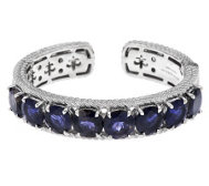 Judith Ripka Sterling 18.25cttw Iolite Hinged Cuff