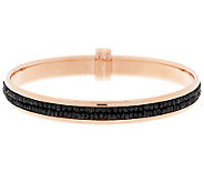 Bronze Black Spinel Faceted Bead Inlay Round Bangle by Bronzo Italia - J288272