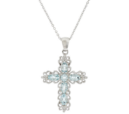 1 45 ct tw aquamarine sterling cross pendant with chain