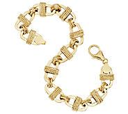 Vicenza Gold 8 Textured Oval Wrapped Status Bracelet 14K Gold, 7.5g - J292372