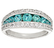 Diamonique & Simulated Apatite Band Ring Sterling - J294772