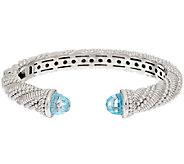 Judith Ripka Sterling 8.50 ct tw Sky Blue Topaz Hinged Cuff - J295472