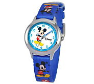 Disney Kids Mickey Mouse Time Teacher StainlessWatch - J309072