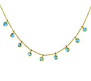 16 Blue Topaz Diamond-Cut Beaded Necklace, 14KGold - J311272