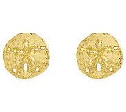 Polished Sand Dollar Stud Earrings, 14K Gold - J313772