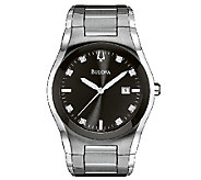 Bulova Mens Stainless Steel & Diamond BraceletWatch - J316472