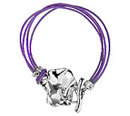 Hagit Sterling Leaf Design Leather Toggle Bracelet - J316872