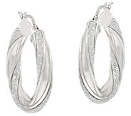 Vicenza Silver Sterling 1 Pave Glitter Twisted Oval Hoop Earrings - J317272