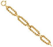 14K Gold 6-3/4 Oval Byzantine Link Bracelet, 12.1g - J319672