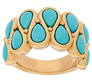 Sleeping Beauty Turquoise Pear Shaped Bold Band Ring, 14K - J319872