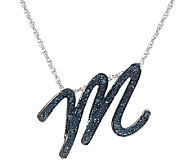 Script Initial Diamond Pendant Sterling, 1/10 cttw, by Affinity - J321072