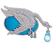 Judith Ripka Sterling Blue Topaz & Turquoise Swan Pin / Enhancer - J322272