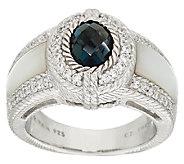 Judith Ripka Sterling 1.35ct London Blue Topaz & MOP Ring - J322472