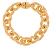 As Is Oro Nuovo 7-1/4 Status Ribbed Oval Rolo Link Bracelet, 14K - J323472